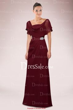 Impressive Chiffon A-line Mother of Bride Dress Adorned with Brooch and Pleats with Detachable Cover up