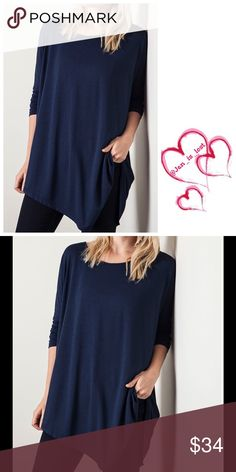 Navy Asymmetrical Tunic  Last Small & Medium Asymmetrical long top. 60% cotton 40% polyester blend.  Perfect for any casual style just throw a bold statement necklace on and go! Fit is for women's sizes Small 2-4, Medium 6-8, Large 10-12 fit is true to size on this asymmetrical top.No Trades  ✅ Reasonable Offers Considered✅ Tops Tunics