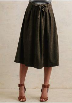 Bay Leaf Faux Suede Midi Skirt | Modern Vintage Clothing | Ruche