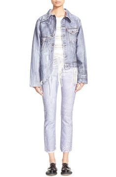 Free shipping and returns on faustine steinmetz Smudge Denim Jacket at Nordstrom.com. Aiming to elevate everyday pieces, Parisian designer Faustine Steinmetz uses hand-worked techniques to create wearable, yet inventively cool essentials. Here, the classic denim jacket is reinterpreted with an off-kilter pieced construction and asymmetrical cut. A blurred indigo line pattern plays up the design's artful, deconstructed aesthetic.