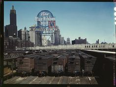 South Water Street freight depot of the Illinois Central Railroad, Chicago, IL May 1943    America in Color from 1939-1943 Denver Post