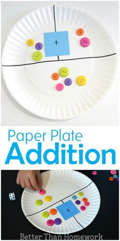Make a simple DIY paper plate addition game to help your child practice their addition and even subtraction skills kindergarten Paper Plate Addition Game Math For Kids, Fun Math, Educational Games For Preschoolers, Educational Activities, Kindergarten Activities, Teaching Math, Kindergarten Addition, Fun Activities, Teaching Subtraction