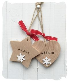 Wooden Christmas Name Tags www.bynicki.co.uk
