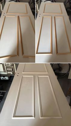 Door DIY- Tür DIY This door was rebuilt perfectly. First, the strips were attached for warping, then painting the past was done with Cotton White. Door Design, Wall Design, Furniture Makeover, Diy Furniture, Home Room Design, House Design, Diy Interior Doors, Diy Home Decor, Room Decor