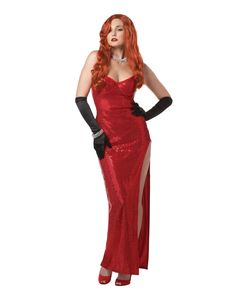 Silver Screen Sinsation Adult Womens Costume - Cameras will be watching your every move when you decide to wear this Silver Screen Sinsation adult womens costume. The drop dead gorgeous red, p Sexy Costumes For Women, Cool Costumes, Cosplay Costumes, Costume Ideas, Movie Costumes, Jessica Rabbit Dress, Jessica Rabbit Costume, Catwoman Halloween Costume, Halloween Makeup
