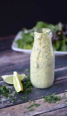 Cilantro Lime Dressing This versatile Creamy Cilantro Lime Dressing is perfect on salads, and as a dipping sauce for seafood.This versatile Creamy Cilantro Lime Dressing is perfect on salads, and as a dipping sauce for seafood. Sugar Free Salad Dressing, Lime Salad Dressing, Salad Dressing Recipes, Creamy Cilantro Dressing, Cilantro Lime Sauce, Salades Taco, Steak Salat, Homemade Dressing, Healthy Salads