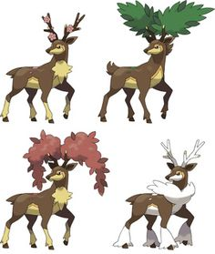 Sawsbuck - #586 - Normal and Grass Type (Forms (L-R): Spring, Summer, Autumn, Winter)
