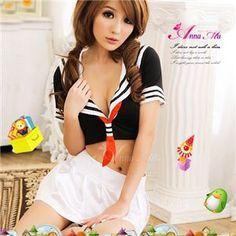コスプレ 胸元セクシーミニスカセーラー服3点セット z449-2 - 拡大画像