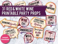 31 Red and White Wine Photo Booth PRINTABLE Props, Printable Wedding props, photo booth signs, speech bubbles - Ilka Burburough Wine Tasting Party, Wine Parties, Wine Down, Wine Signs, Party Props, Party Ideas, Party Themes, Wine Online, Photo Booth Props