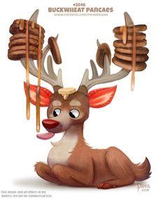 Cute Food Drawings, Cute Animal Drawings Kawaii, Cute Fantasy Creatures, Mythical Creatures Art, Pretty Animals, Cute Animals, Fruit Animals, Animal Puns, Animal Food
