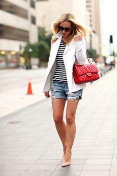 Joseph blazer, Rag&Bone tee and shorts, Chanel bag