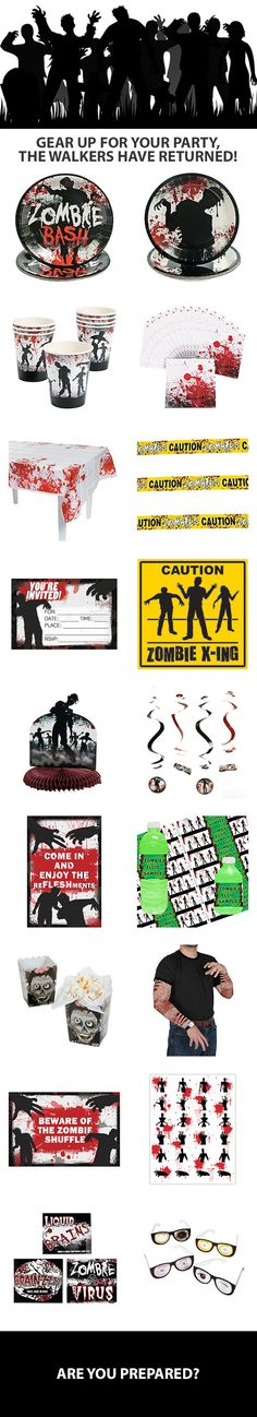 Zombies or walkers, you need to be prepared! Gear up for your zombie party with zombie party supplies. Tableware, decorations, favors, and more are available. Visit today to start planning: http://www.discountpartysupplies.com/theme-parties/zombie-parties?utm_source=Pinterest&utm_medium=Social&utm_content=zombie_party_supplies&utm_campaign=zombie_Promoted_Pin