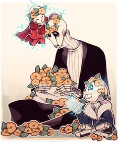 Sans, Papyrus and Gaster in flower crowns!!