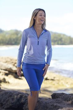 UV Skinz Women's Half-Zipped Ruched Sun Shirt is now available in Hot Pink, Navy Blue and Black Stripes!