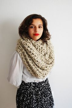 The Oversized Cowl or Hood Hand Knit in Oatmeal by RememberADay, $80.00