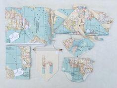 Conjunto para recién nacido: cambiador + pañalera, portadocumentos, bandana, cubrepañal, banderola y mochila. Oh Amá