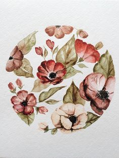 A personal favorite from my Etsy shop https://www.etsy.com/listing/269380244/circlular-floral-original-watercolor