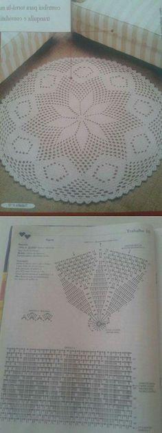 """Tapete redondo com motivo """"estrela"""", em crochê (com gráfico)"""