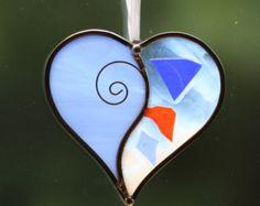 Corazón corazón de cristal por Reyanstainedglass en Etsy