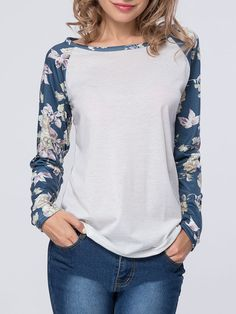Awesome Floral Printed Boat Neck Raglan Sleeve T-Shirt