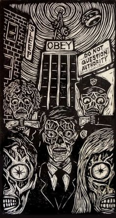 They Live Woodblock Print - Brian Reedy