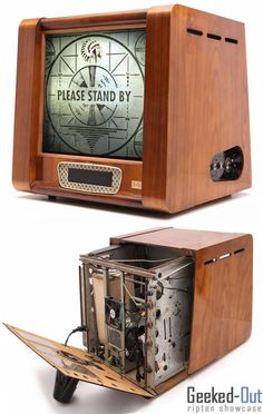 If you plan on playing Fallout 3 on a PC, then this old school case mod, made to look like a television set, has got to be the way to go. Custom Computer Case, Computer Build, Computer Setup, Computer Technology, Gaming Computer, Wood Computer Case, Pc Gaming Setup, Gaming Pcs, Gaming Station