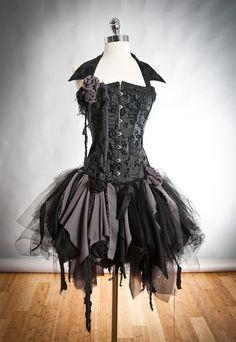 Benutzerdefinierte Größe schwarz- und Burlesque Zombie Korsett Kleid mit Kragen erhältlich in klein bis XL.