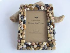 River Rock Picture Frame - Pebble Picture Frame - Beach themed Photo Frame - West Coast home decor - House warming gift idea - Cottage decor on Etsy, $24.99