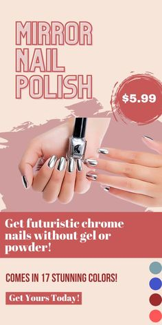 If you're not already obsessed with chrome nails, you're about to be. The Mirror Nail Polish can achieve chrome nails without the powder! Currently 60%OFF with Free Shipping!! Only on neulons.com Mirror Nail Polish, Mirror Nails, Light Blue Roses, Lines On Nails, Professional Nail Art, Mirror Effect, Trim Nails, Nail Games, Chrome Nails