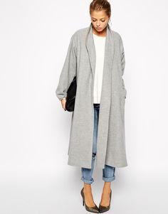 Abrigo Oversized solapa manga larga-gris