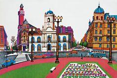 El Cabildo Scenery Paintings, Naive Art, City Art, Travel Posters, Home Art, Folk, Taj Mahal, House Styles, Building