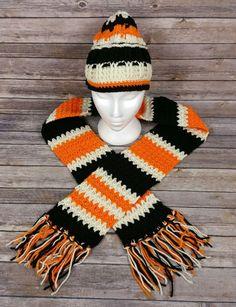f8eab554d64 Crochet Beanie Hat and Tassel End Scarf Set Black Orange White Skull Cap  A096  fashion