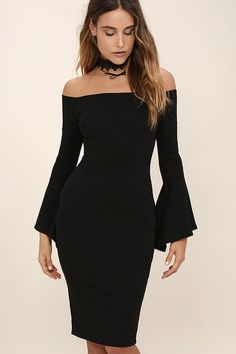 Everything you could hope for has arrived in the stylish All She Wants Black Off-the-Shoulder Midi Dress! Medium-weight stretch knit sweeps across an off-the-shoulder neckline (with no-slip strips) into long bell sleeves. Darted bodycon bodice and midi skirt with kick pleat. Hidden back zipper.