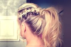 Braided Ponytail Braided Ponytail Braided Ponytail -so pretty! this would be a perfect hair-do during the summertime or for the beach! perfect to just get your hair out of your face but still look cute! simple way to pice up a regular ponytail! Ponytail Styles, Braided Ponytail, Ponytail Hairstyles, Pretty Hairstyles, Braid Hair, Style Hairstyle, Fancy Ponytail, Hair Ponytail, Summer Hairstyles