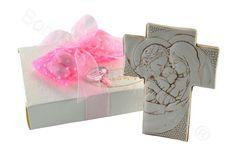 Crocefisso Sacra famiglia bassorilievo con scatola di serie confezione rosa (AN)