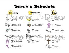 Horizontal Schedule for Children - Find it at: www.designinglife.etsy.com