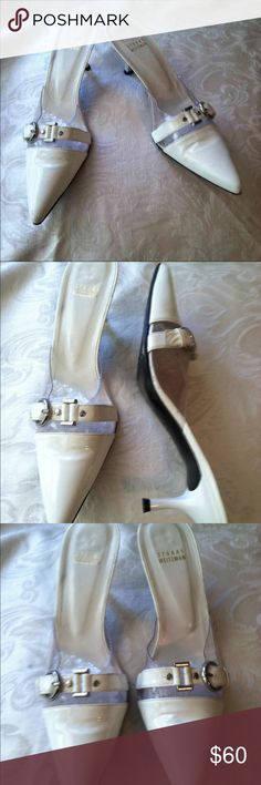 Stuart Weitzman white Mules shoes 8.5B Size - 8.5B White Patent Leather Mules Stuart Weitzman Shoes Mules & Clogs