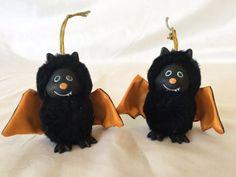 Vintage-Russ-Berrie-Creepy-Critters-for-Halloween-lot-of-2-Bat-D10