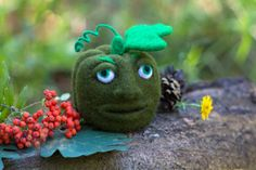 Pumpkin Needle Felted Pumpkin Face Green Wool Fall by WooolyWool