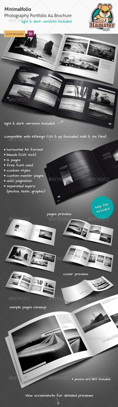 Minimalfolio Photography Portfolio A4 Brochure. Minimalfolio is a horizontal photography portfolio A4 brochure. Minimal style makes a clean and elegant look. Highly organized elements (on differents layers). Ideal for photographers, web and graphic designers and other people where image portfolio is required. Contains 12 pages (you can duplicate them, increase or decrease number of pages in brochure) with customized Master Pages. Pack includes two color versions: light and dark.