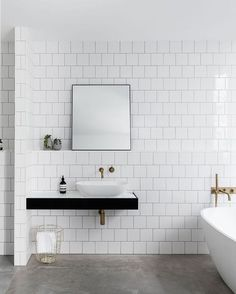 "Immy and Indi on Instagram: ""Leveson House bathroom by Melbourne based architectural firm @ha_arc 👈🏻 loving these square subway tiles 👌🏻 📷 @blachford built by D & A Pulitano Builders"""