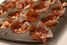 Prosciutto Cups Filled with Chopped Goat Cheese, Pears, Figs and Nuts then Drizzled with Reduced Balsamic