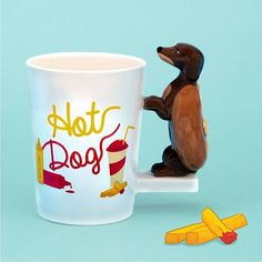 Too sweet to miss it! Tazza in ceramica linea Fast Food con manico a forma di Bassotto Hot Dog #puckatofastfood