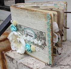 "I'd love to make a scrapbook like this. It looks so vintage, distressed, and darn right beautiful!  But . . . going to make one with a ""school"" theme!"