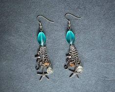 Aqua Blue Glass Silver Seahorse Starfish Chain Mermaid Tassel
