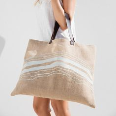Jute Bags, the perfect beach bag or everyday tote. Slightly oversized and designed to allow sand to pass through. The bag that works for any occasion. The Beach People, Leather Stamps, Blue Towels, Jute Bags, Beach Accessories, Online Bags, Leather Handle, Bridesmaid Gifts, Things That Bounce