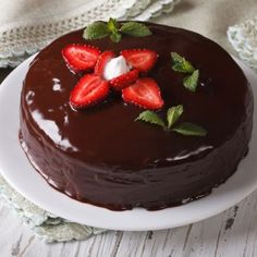 Fresh Strawberry Cake With A Chocolate Glaze