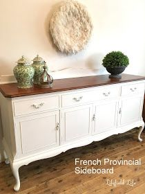 French Provincial Sideboard – White and Timber – home - Diy Möbel French Provincial Kitchen, French Provincial Furniture, French Furniture, Refurbished Furniture, Farmhouse Furniture, Furniture Makeover, Provincial Francés, Deco Furniture, Furniture Ideas