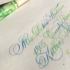 I'm trying to force Spring here with some happy colors. It's so colddd . #calligraphy #calligraphymasters #spring #thankyounote #copperplate #flourish #ecoline #iampeth #letterworks