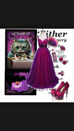 A fashion look from February 2010 featuring hot pink prom dresses, red heel shoes and fake rings. Browse and shop related looks. Alice In Wonderland Wedding Dress, Cheshire Cat Alice In Wonderland, Alice In Wonderland Costume, Masquerade Outfit, Halloween Masquerade, Halloween Costumes, Halloween Ideas, Disney Dresses, Disney Outfits
